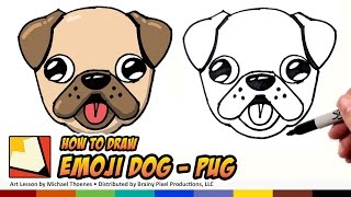How to Draw a Cute Dog Emoji Pug for Beginners Step by Step