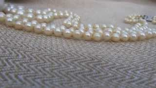 Mikimoto double strand Akoya pearl necklace 14kt white gold clasp