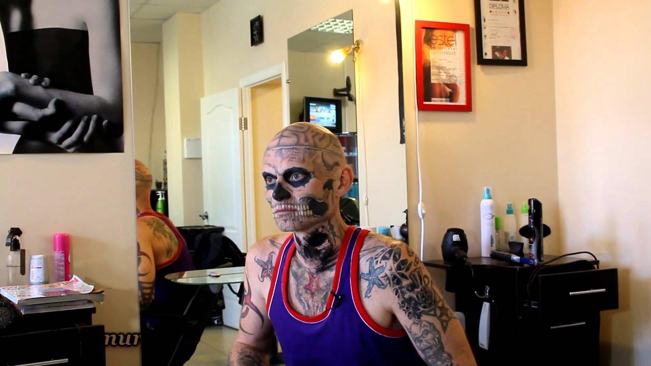 Тату зомби на лице фото