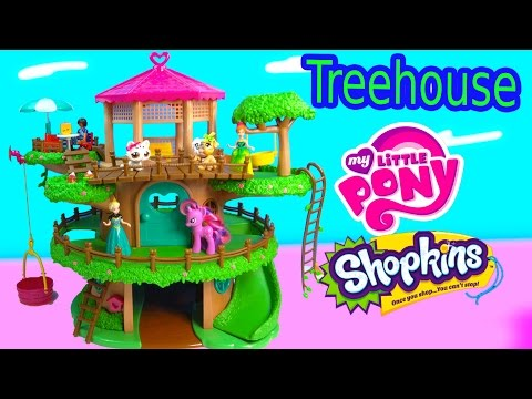 Lil Woodzeez Family Treehouse Playset My Little Pony Frozen Littlest Pet Shop Hangout Toy Unboxing video