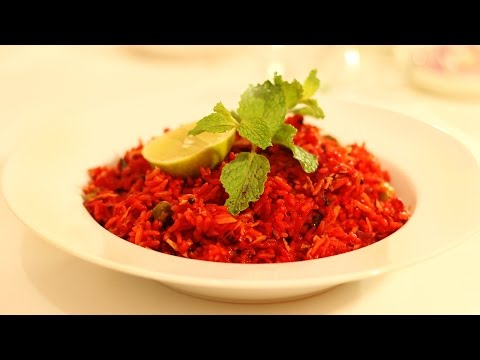 Beetroot Red Rice - Red Pulao  - Healthy Vegetarian South Indian Recipe