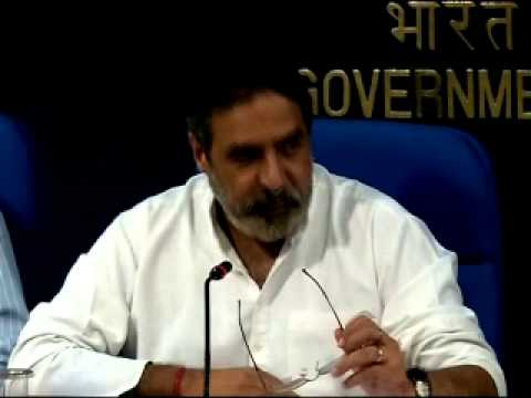Commerce Minister Sh. Anand Sharma briefing media on Cabinet decisions regrading FDI-part1