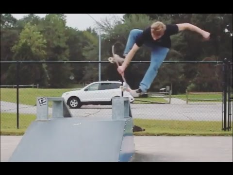 Andrew Getting Creative at a weird skatepark
