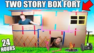 TWO STORY BOX FORT MANSION!! 24 Hour Challenge: TV, Gaming Console, Kitchen & More!