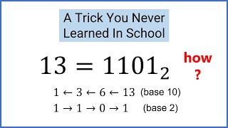 GENIUS TRICK - Convert Decimal Numbers To Binary (Base 2)