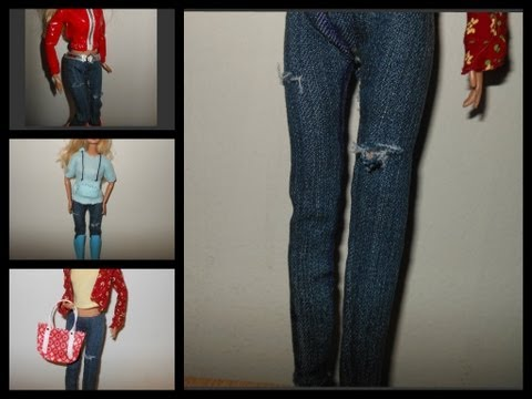 how to make doll jeans. pants. doll outfits with jeans