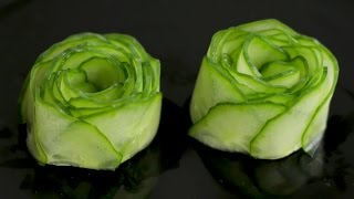 How to Make Cucumber Rose Garnish