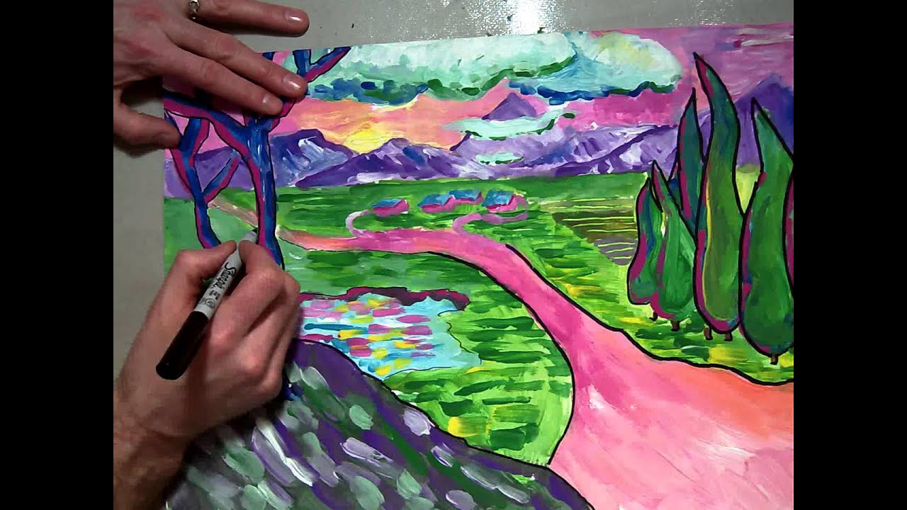 Fauvism Landscape Painting Sharpie Outlines 7 7 Mov