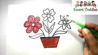 Kids Drawing || ☆FLOWER POT☆ || Coloring FOR Creative kids,Children,Toddlers ❤❤❤ #05