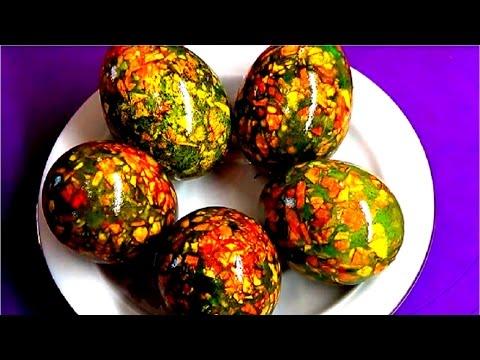 Как покрасить яйца на Пасху. Мраморные яйца. Простой способ.