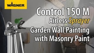 Spray painting a Garden Wall with a Wagner Control 150 M Airless Paint Sprayer