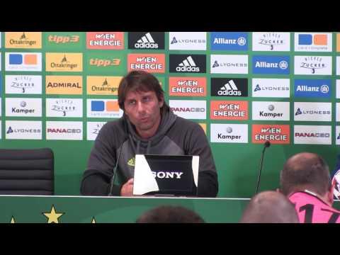 Pressekonferenz von Chelsea Manager Antonio Conte nach dem Spiel bei Rapid Wien