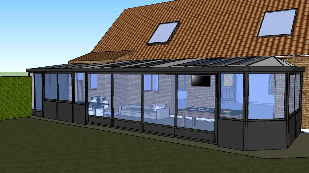 Veranda en 3d ebm menuiserie youtube for Modele maison sweet home 3d
