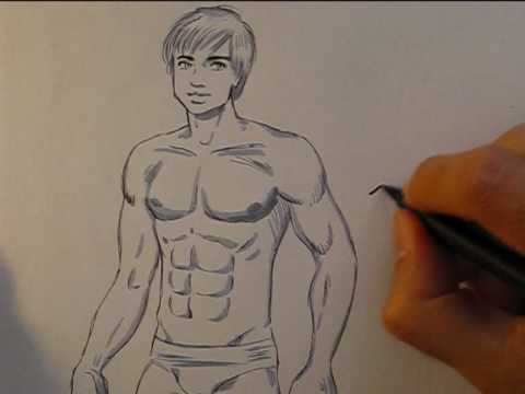 How to draw a hunky male body, in manga style