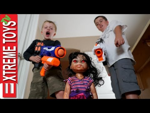 Haunted Doll Attacks! Ethan and Cole Blast a Crazy Toy with Nerf Blasters.