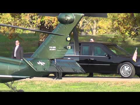 Obama landing in helicopter at Ohio University.