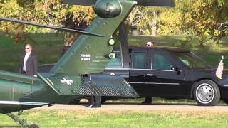 Obama landing in helicopter at Ohio University.