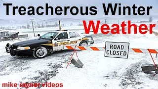 treacherous winter weather, cars planes trains sliding on icy roads, stuck in snow storm + timelapse  from mike- rayner-videos