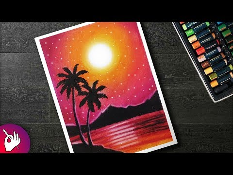 How to Draw scenery sunset with oil pastel step by step