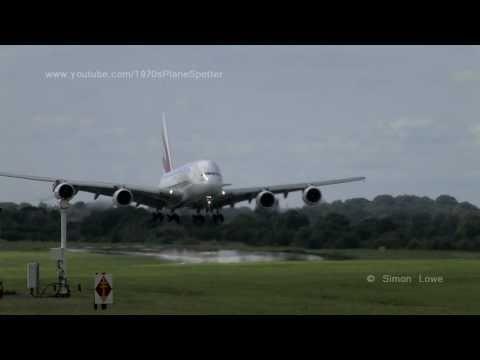 Emirates A380 A6-EDJ landing at Manchester UK