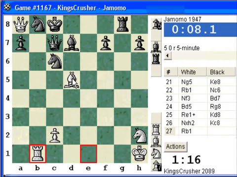 Chess World.net: Blitz #135 vs. Jamomo (1947) - Sicilian Defense : wing gambit, Carlsbad variation