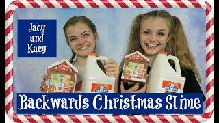 Backwards Christmas Slime Challenge ~ Jacy and Kacy
