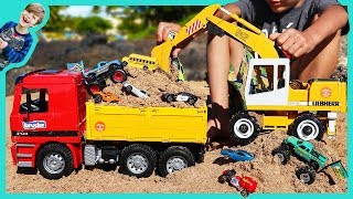 Excavator Videos for Children | Digging with Bruder Trucks and Monster Trucks