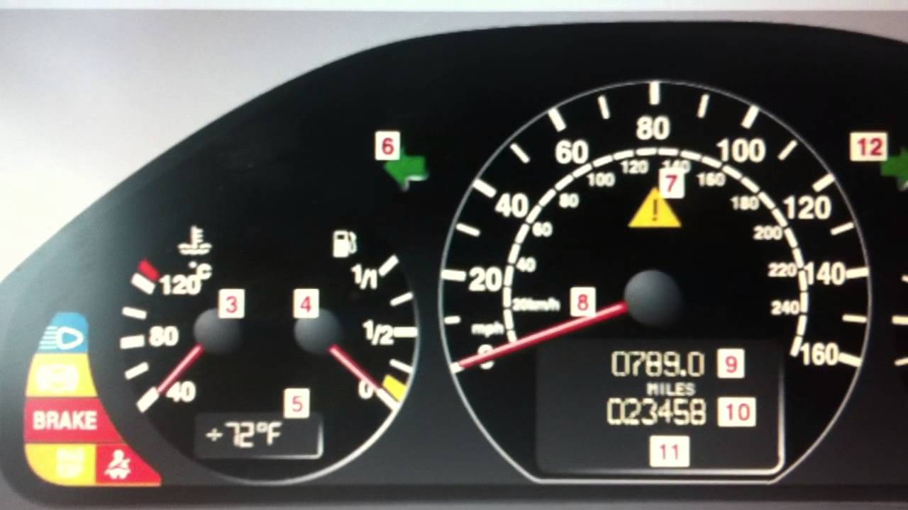Mercedes e class w210 dashboard warning lights symbols for Mercedes benz symbol light