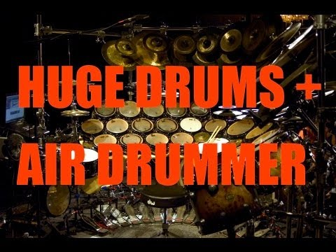 Air Drummer Plays World s Largest Drum Set