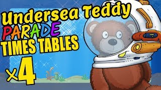 Undersea Teddy Bear Teaching Multiplication Times Tables x4 Educational Math Video for Kids