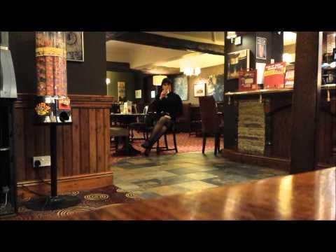 Crossdresser in Public Bar in Skirt and Blouse 1