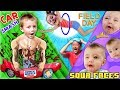 SOUR FACES ♫   Broken POWER WHEELS Car Field Day Games w  Family FVVlog