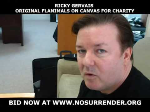 Ricky Gervais on video creates unique flanimals on canvas for No Surrender Charity