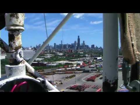 radio tower, view city scape: Chicago, IL; 08l2011
