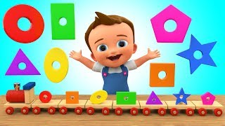 Learn Colors & Shapes for Children with Baby Wooden Toy Train Shapes Toy Set 3D Kids Educational