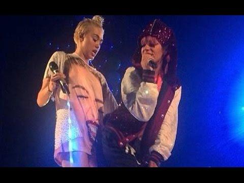 Miley Cyrus twerking con Lily Allen. (Lily Allen joins Miley Cyrus)