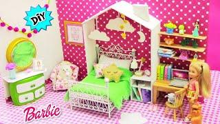 Haz Nueva HABITACIÓN a muñeca Barbie Chelsea, DECORAMOS con IDEAS Diy muy fáciles reciclando!