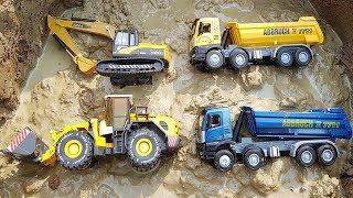 Fine Toys Construction Vehicles Under The Mud | Excavator | Road Roller | Dump Truck