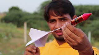 Rocket Attached To A Paper Airplane - Will It Fly Or Not ? | EXPERIMENT