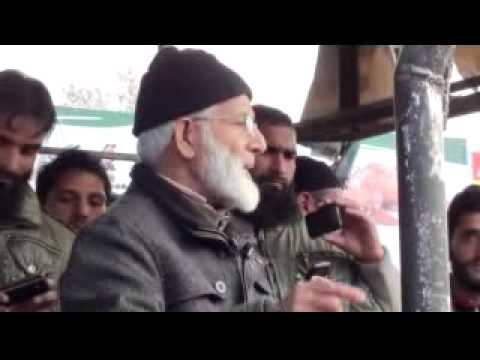 Chiarman APHC Syed Ali Geelani addressing public rally at Sopore