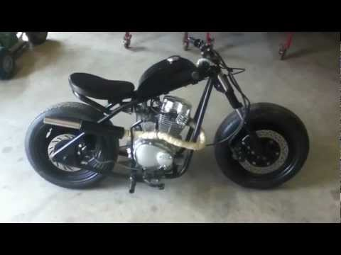 Subscribe and check out my other videos! http://www.youtube.com/user/Vinnetrow A homemade mini bike, built from a 125cc chinese engine. Custom frame, tank, forks and exhaust!