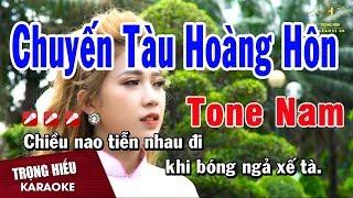 Karaoke Chuyến Tàu Hoàng Hôn Tone Nam Nhạc Sống | Trọng Hiếu