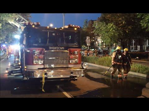 Fire trucks SIM on-scene including command post 1005-St-Joseph blvd-Montreal Fire Department