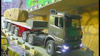 Heavy RCTransport! Big 45t stone block transportation! Heavy Mercedes 3363 Classic Special! RC LIVE