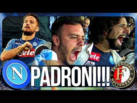 NAPOLI 3-1 FEYENOORD   PADRONI!!! REAZIONE NAPOLETANI CHAMPIONS LEAGUE CURVA B HD