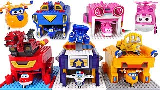 Super Wings! Paul transform launcher Lego block create play with Dinotrux! - DuDuPopTOY