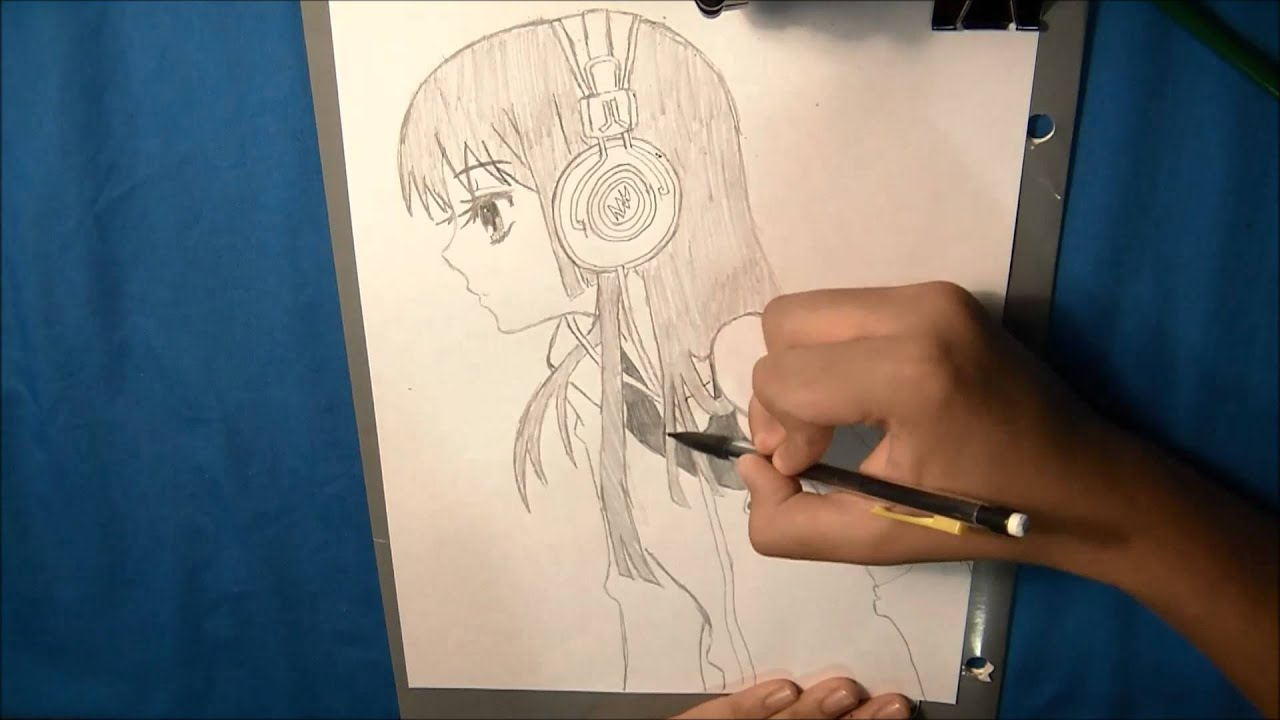 Girl With Earphones Drawing Drawing Sketch | Anime Girl 2