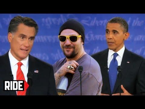 Presidential Debate 2012 - Barak Obama, Mitt Romney, and Bam Margera? WTF?!