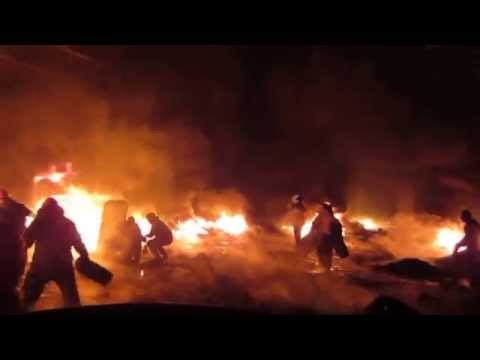 Barricades Set On Fire During Street Fights In Kiev, Jan 22 2014