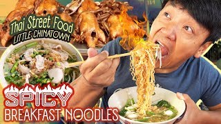 SPICY BREAKFAST NOODLES & Thai Street Food in LITTLE CHINATOWN in Bangkok Thailand